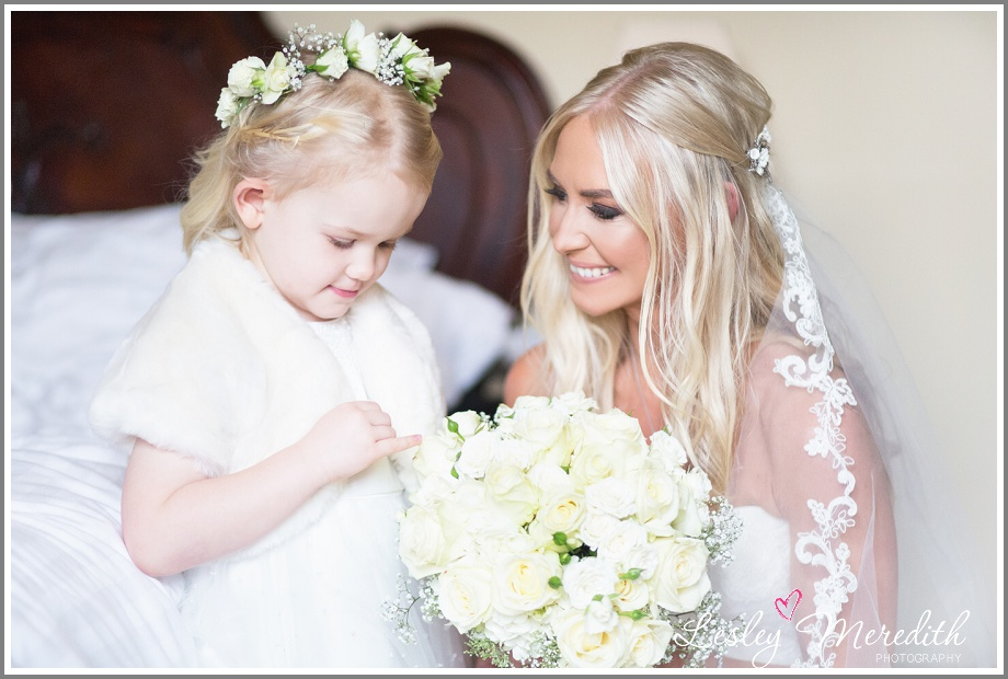 Flower girl and the bridal bouquet