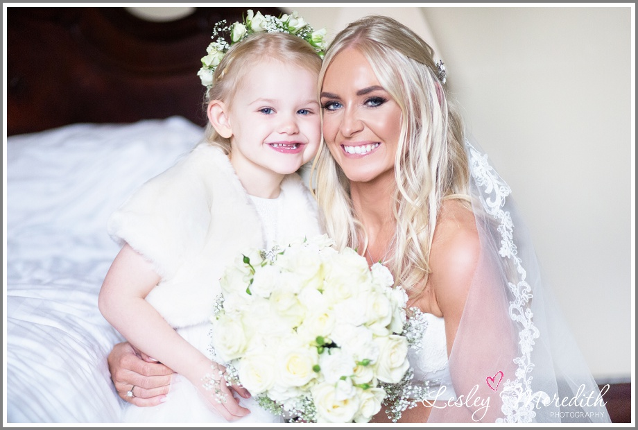 Bride and Flower girl at Peckforton Castle