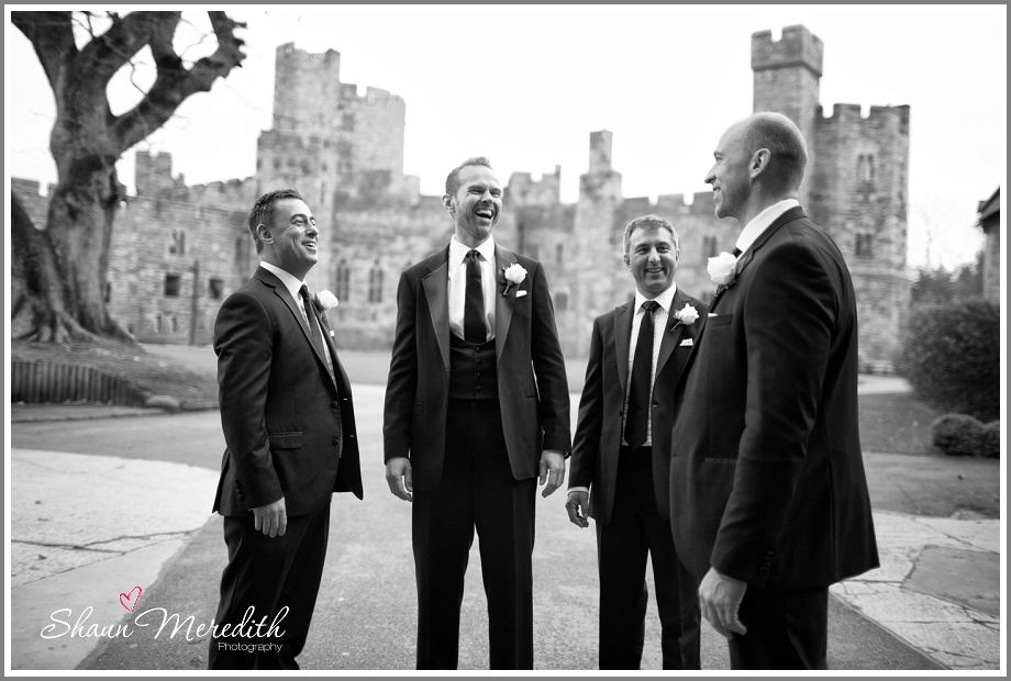 Marcus with the boys outside Peckforton Castle