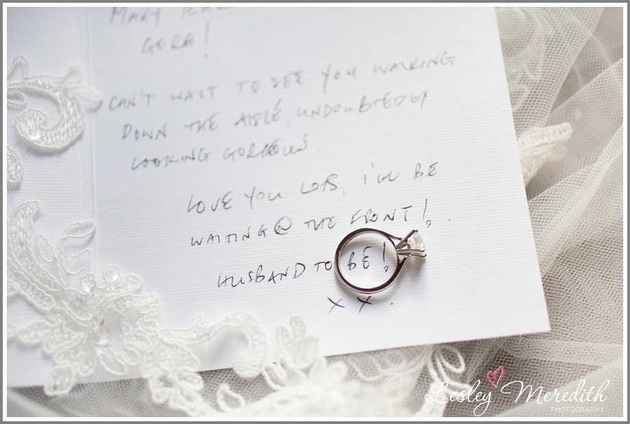 Engagement ring on wedding message