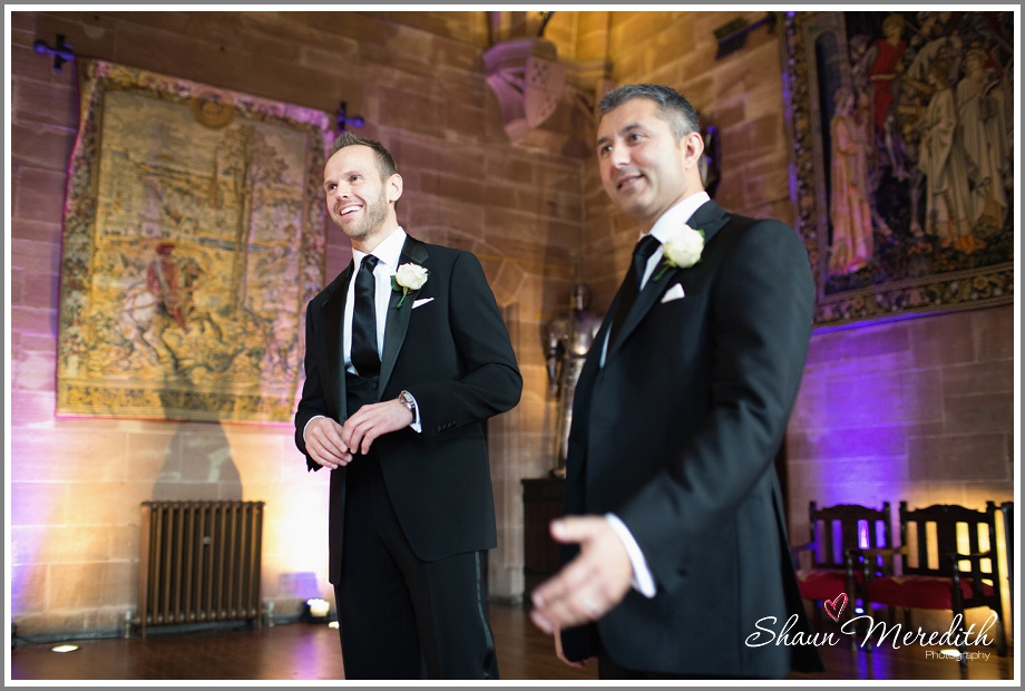 Marcus at the top of the aisle Peckforton Castle