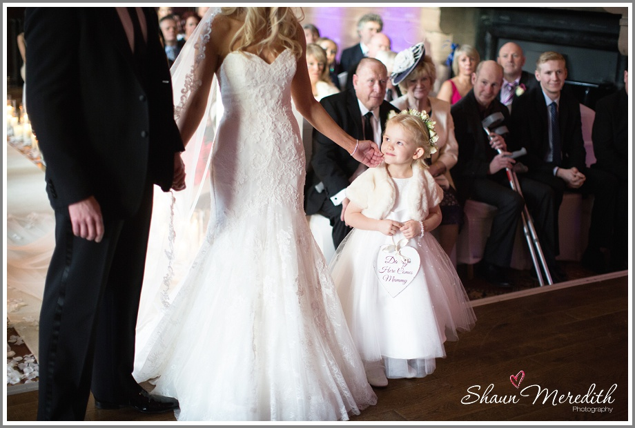 Happy flower girl at Peckforton Castle