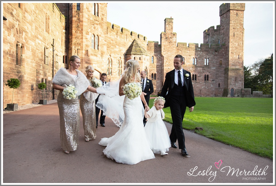 Bridal party outside at Peckforton Castle