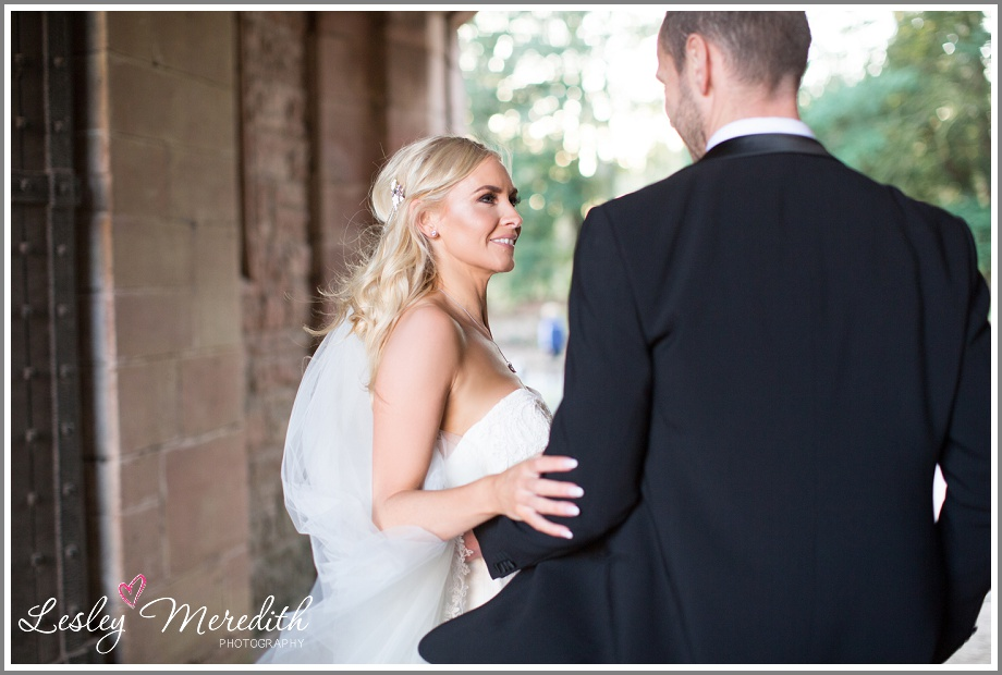 Marcus and Julie outside at Peckforton Castle