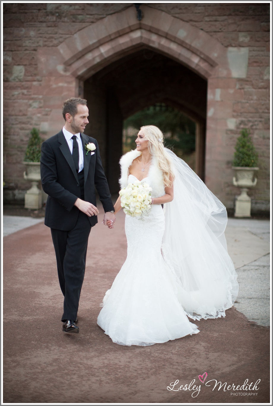 Julie and Marcus take a walk at Peckforton Castle