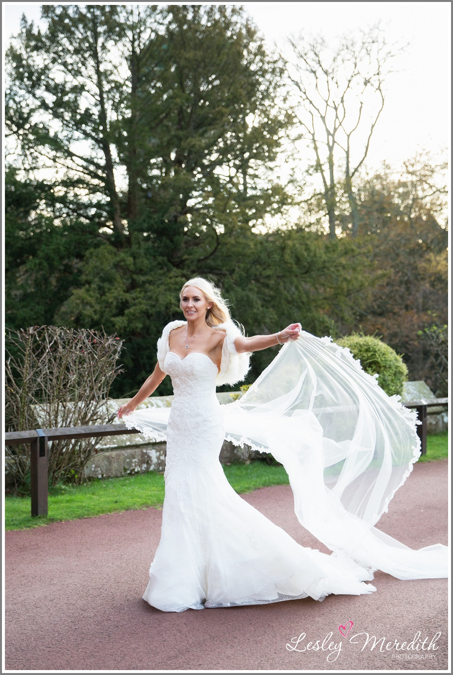 Veil blowing in the wind outside Peckforton Castle