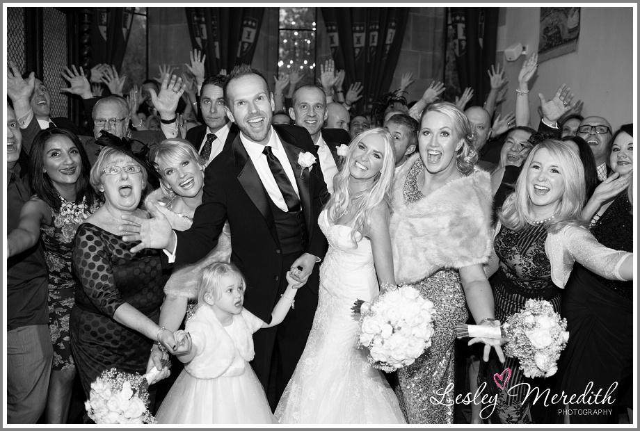 Julie and Marcus with their guests at Peckforton Castle