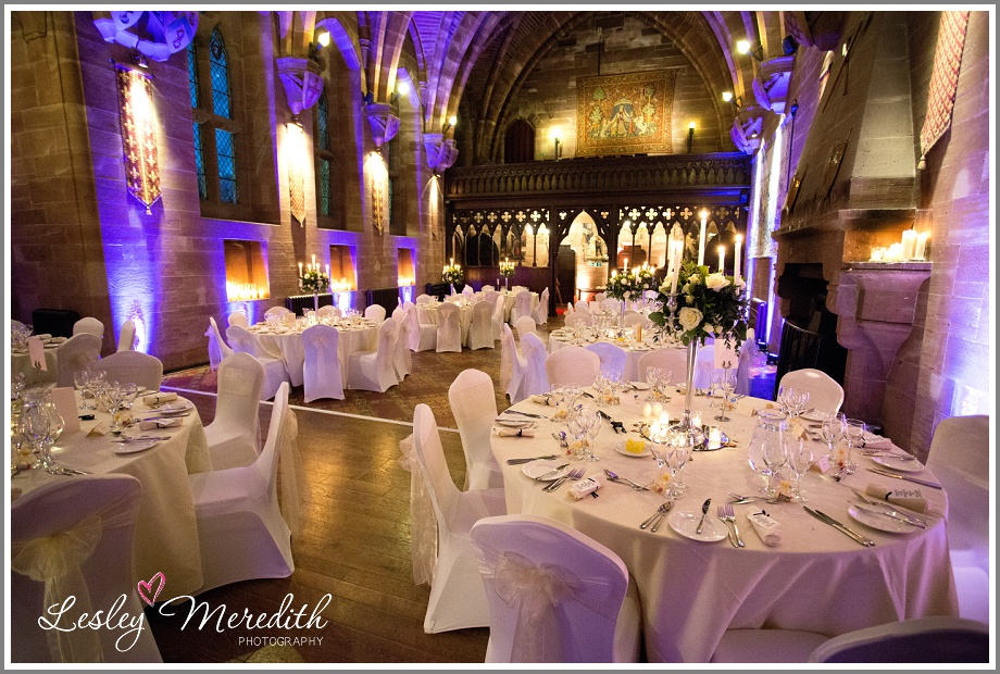 Room ready for wedding breakfast at Peckforton Castle