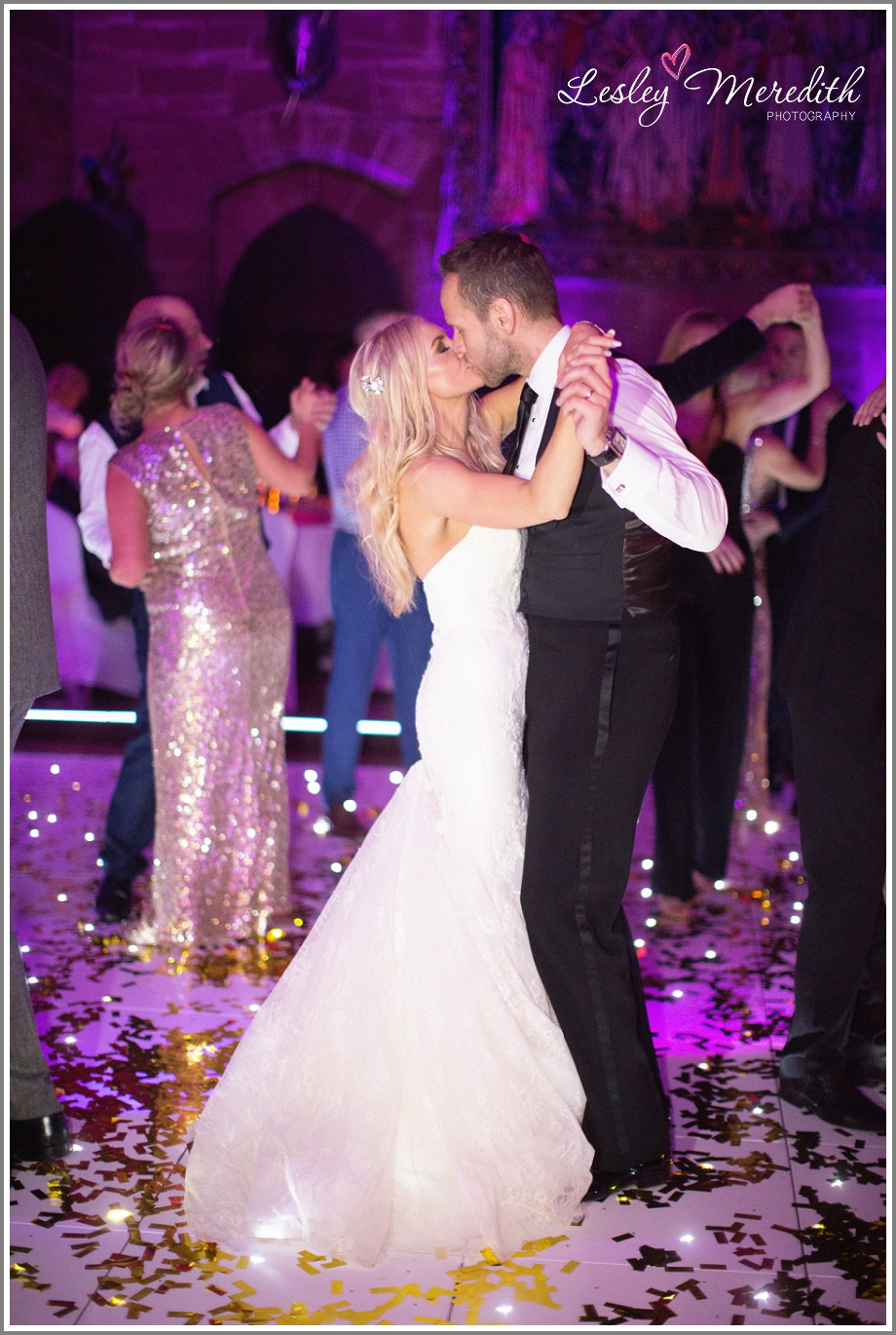 Kisses on the dancefloor at Peckforton Castle