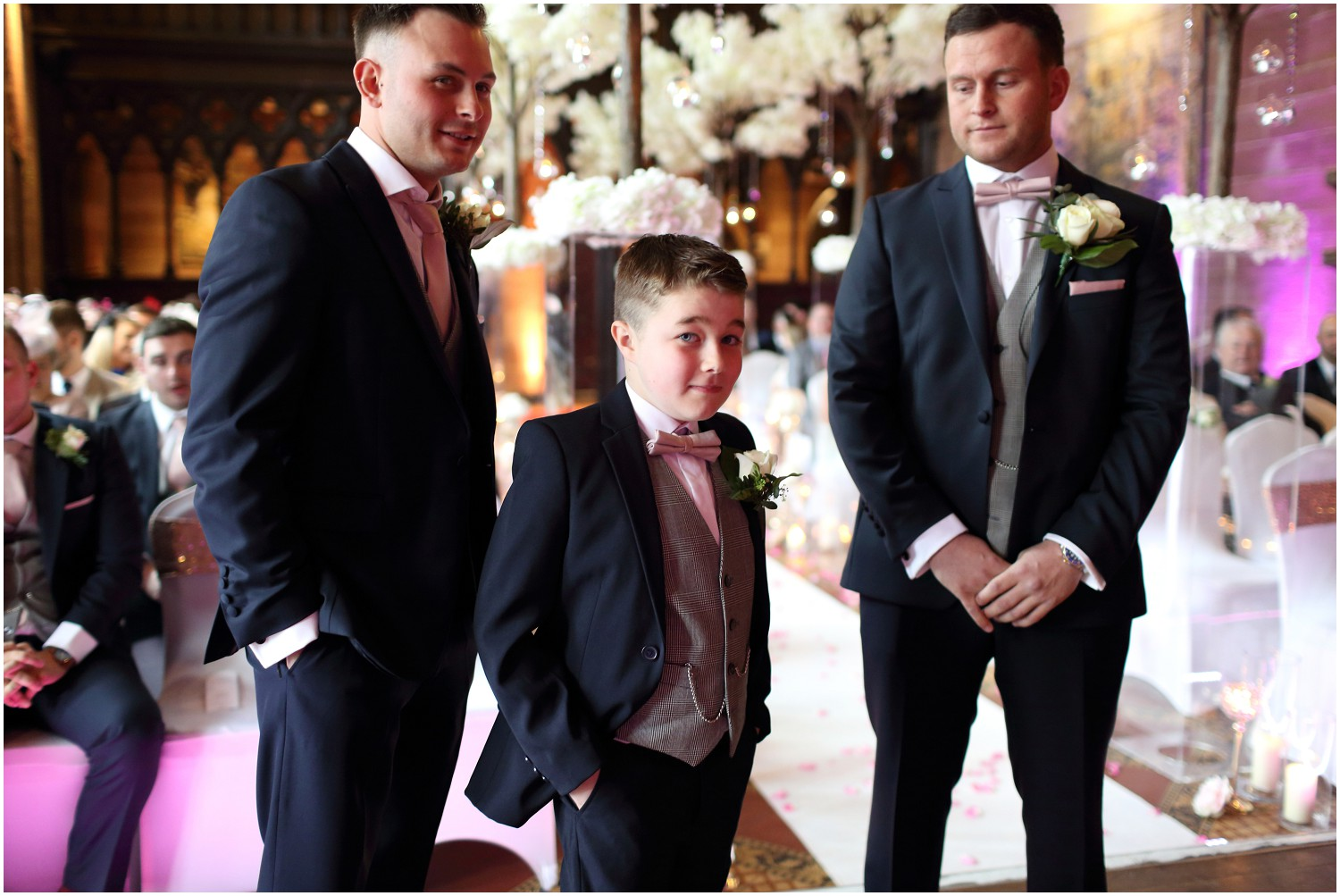 pageboy with groom and bestman