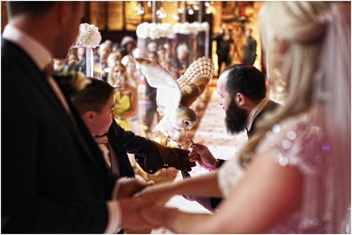 owl delivering the wedding rings