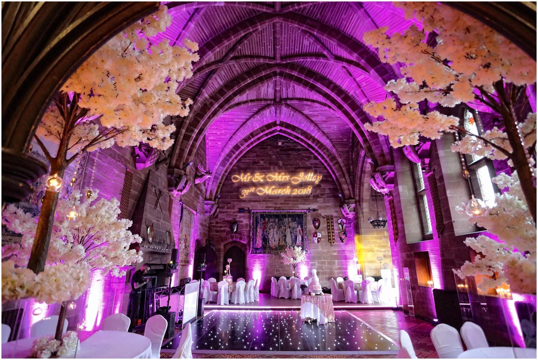 stunning lighting in great hall peckforton castle