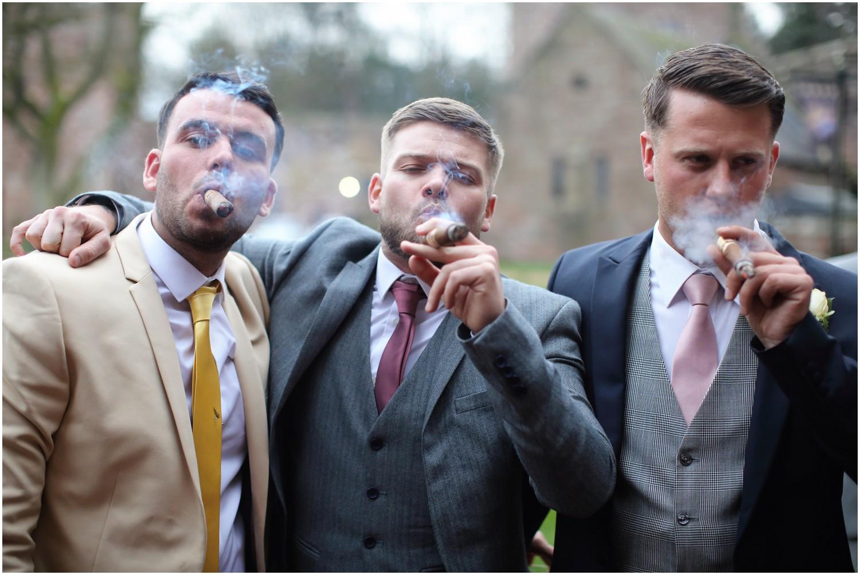 wedding guests smoking cigar