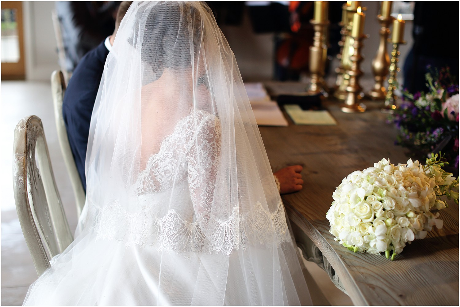bride veil and lace