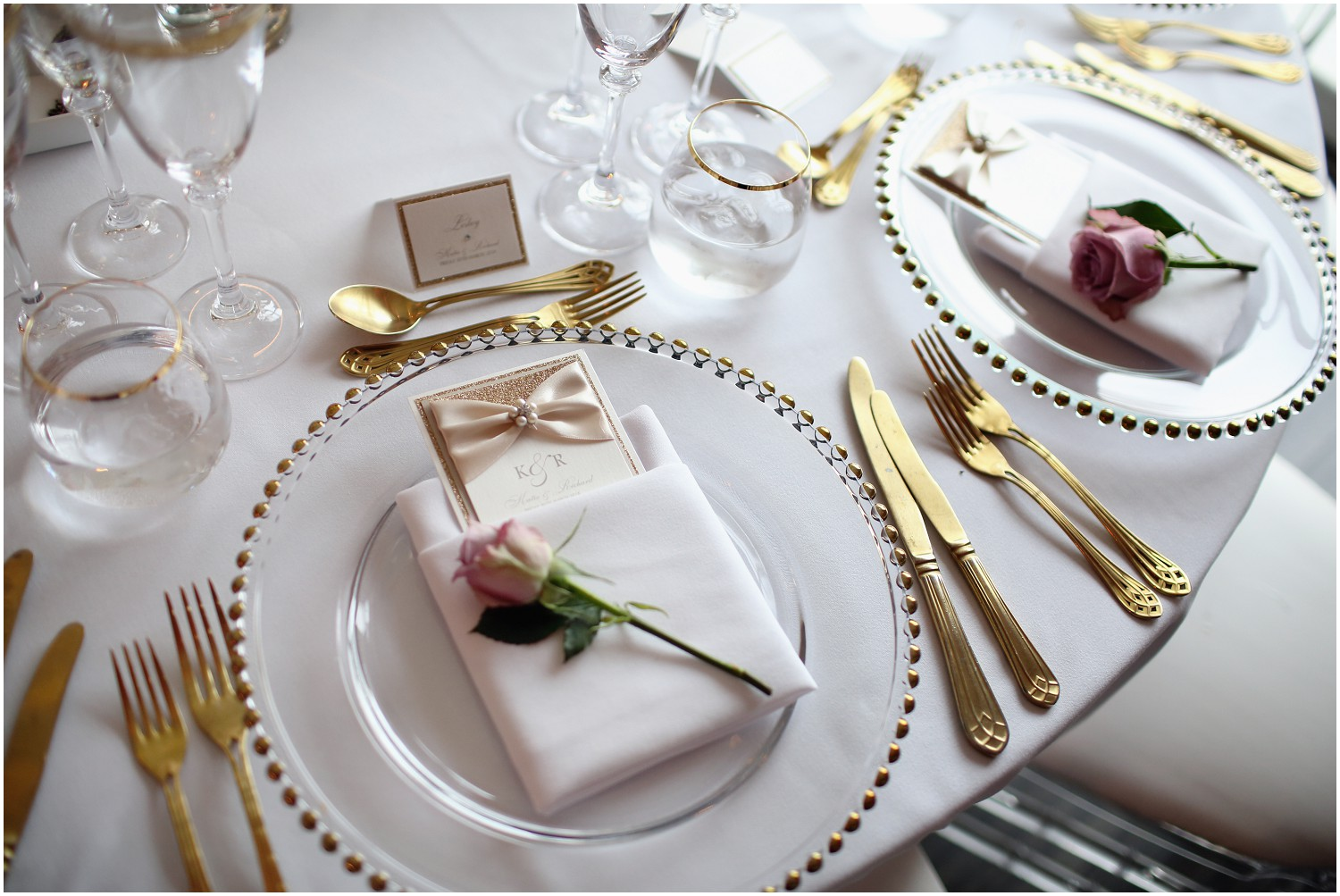 glass plates and golden cutlery