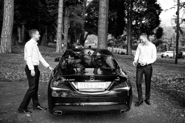 groom arriving in car