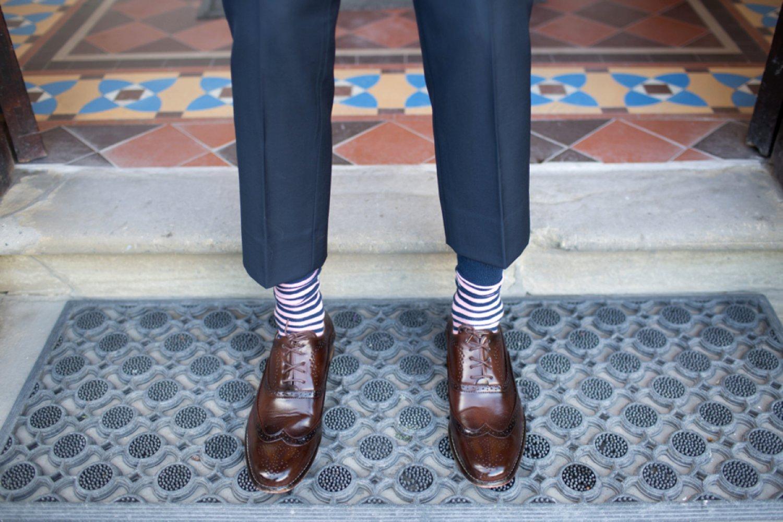 grooms striped socks
