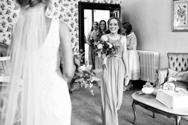 bridesmaid seeing bride