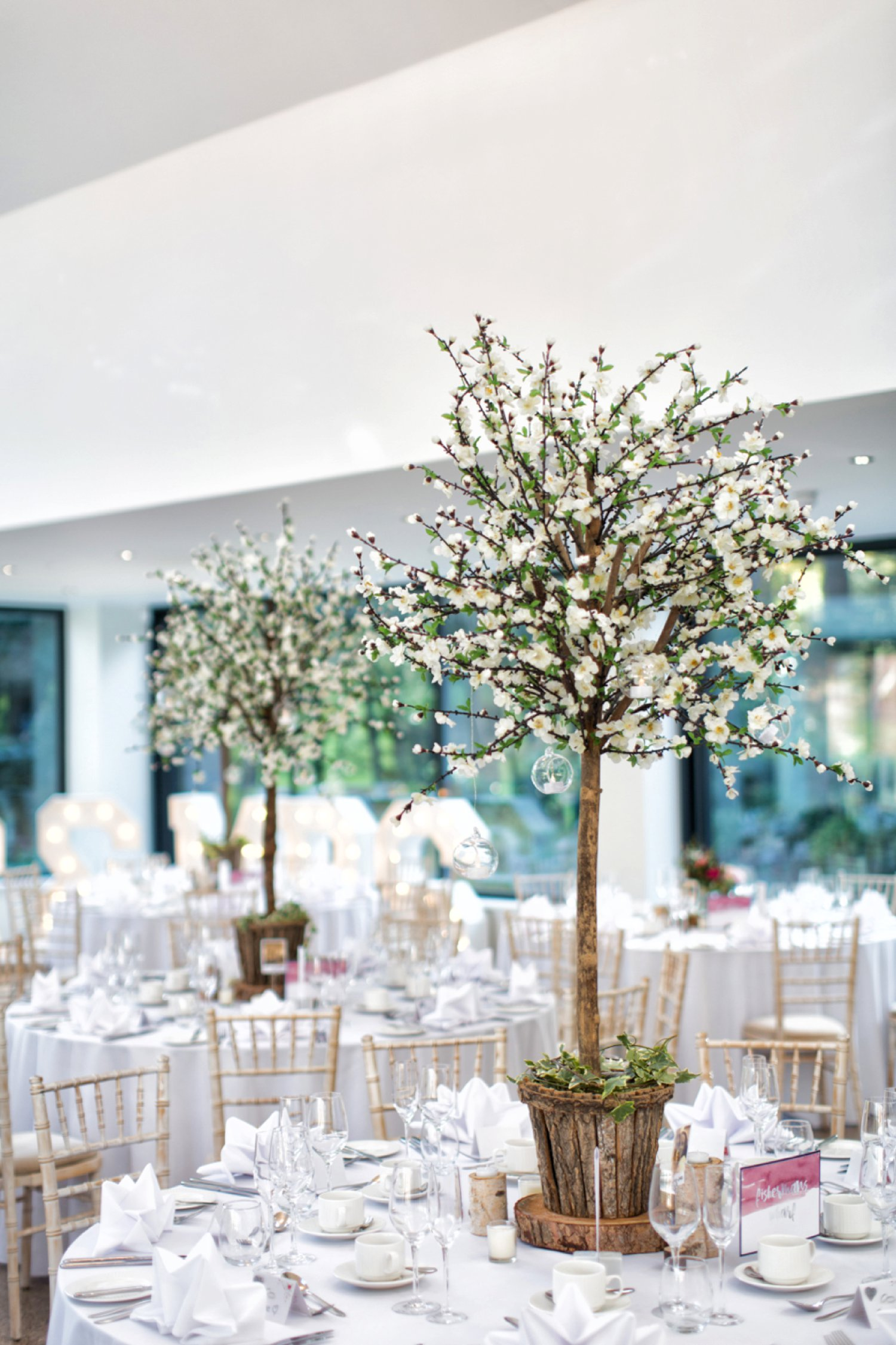 blossom trees in wedding breakfast