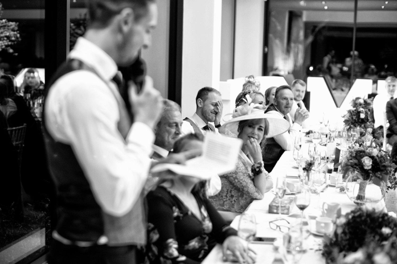 groom embarrassed by speech