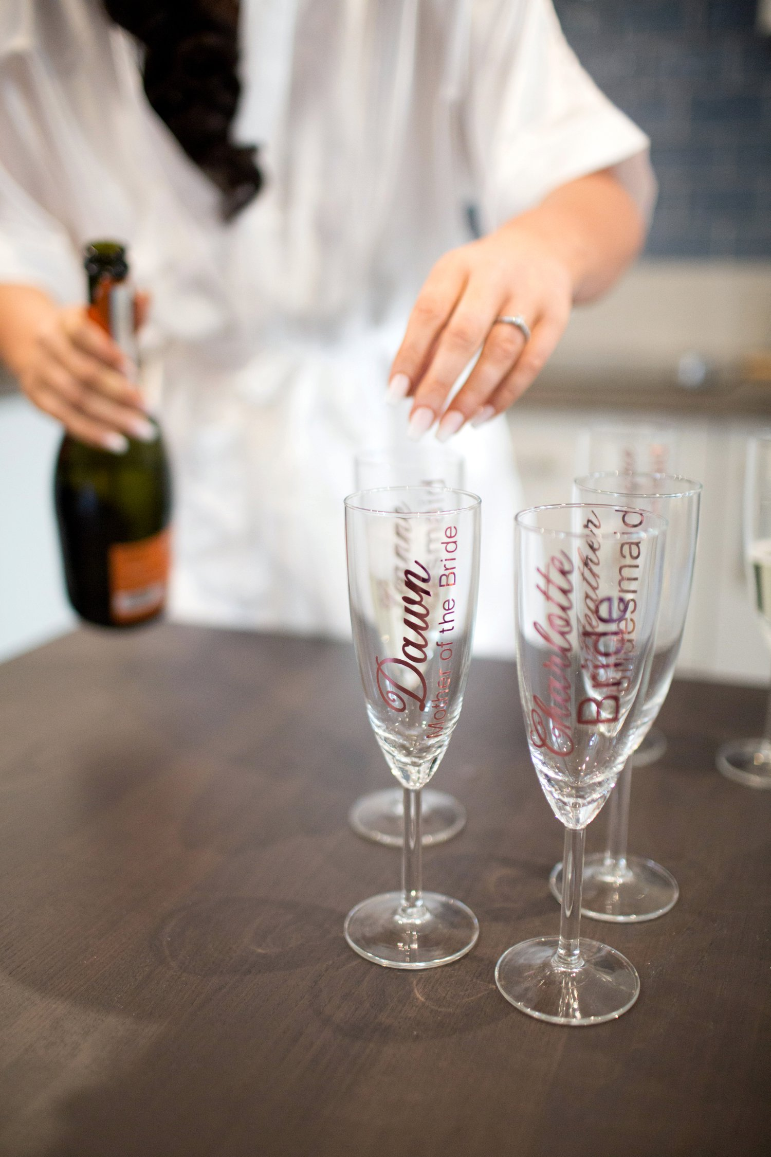 champagne flutes with bridesmaids names