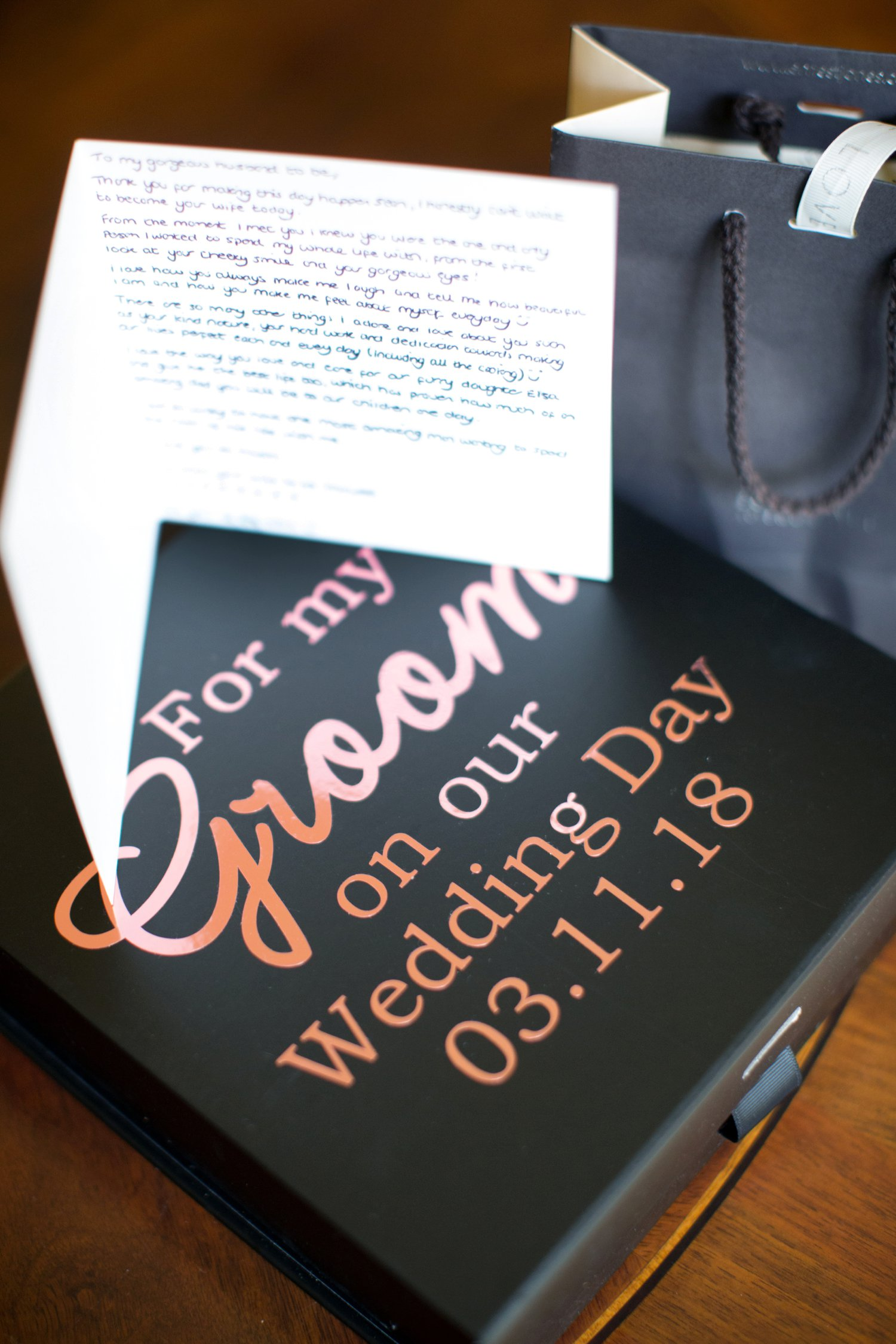 groom to be's gift from bride
